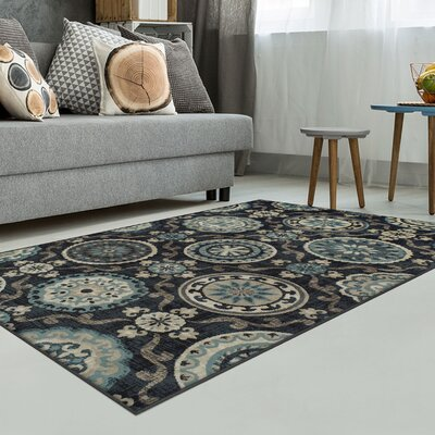 Raya Black Area Rug Rug Size: Rectangle 5 x 8