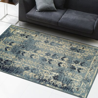 Mya Blue/Cream Area Rug Rug Size: Runner 2.6 x 8