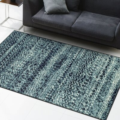 Hopkins Blue/Black Area Rug Rug Size: Rectangle 4 x 6