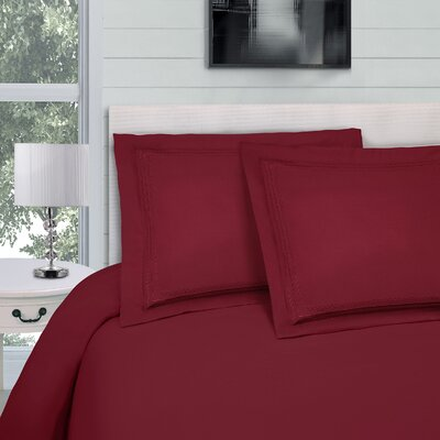 Bilbrey Infinity Embroidered 3 Piece Duvet Cover Set Color: Burgundy, Size: Twin/Twin XL