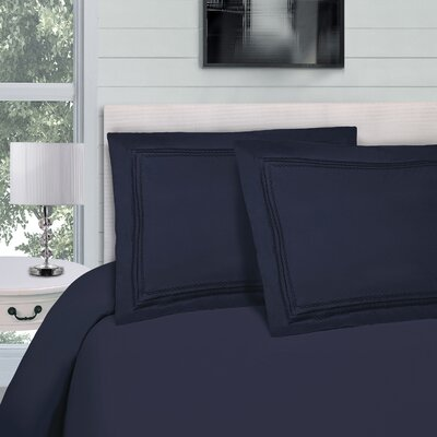 Bilbrey Infinity Embroidered 3 Piece Duvet Cover Set Color: Navy Blue, Size: King/California King