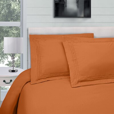 Bilbrey Infinity Embroidered 3 Piece Duvet Cover Set Color: Pumpkin, Size: Full/Queen
