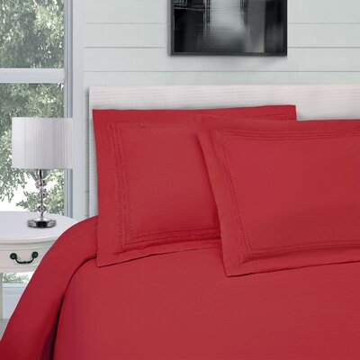Bilbrey Infinity Embroidered 3 Piece Duvet Cover Set Color: Red, Size: Full/Queen