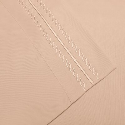 Bilbrey Infinity Embroidered Pillowcase Color: Tan, Size: Standard