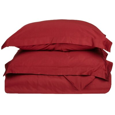 Rayland 400 Thread Count Quality Cotton Solid Duvet Cover Set Color: Burgundy