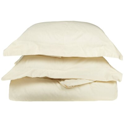 Rayland 400 Thread Count Quality Cotton Solid Duvet Cover Set Color: Ivory