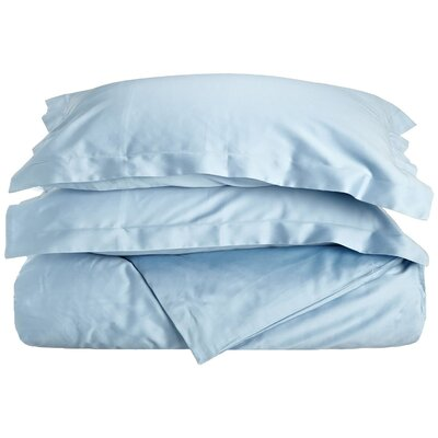 Rayland 400 Thread Count Quality Cotton Solid Duvet Cover Set Color: Light Blue