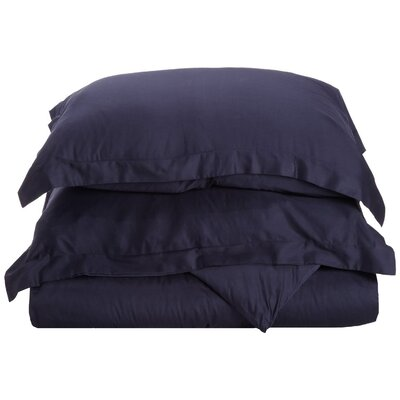 Rayland 400 Thread Count Quality Cotton Solid Duvet Cover Set Color: Navy Blue