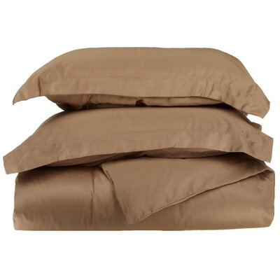 Rayland 400 Thread Count Quality Cotton Solid Duvet Cover Set Color: Taupe