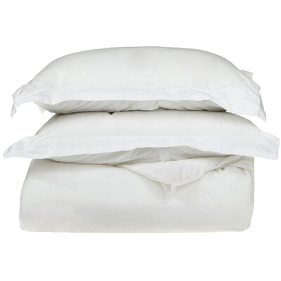 Rayland 400 Thread Count Quality Cotton Solid Duvet Cover Set Color: White