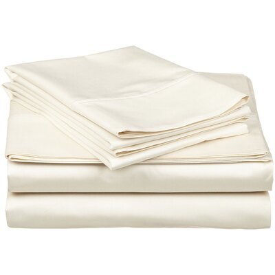 Cullen 400 Thread Count 100% Premium Cotton Sheet Set Size: Split King, Color: Ivory