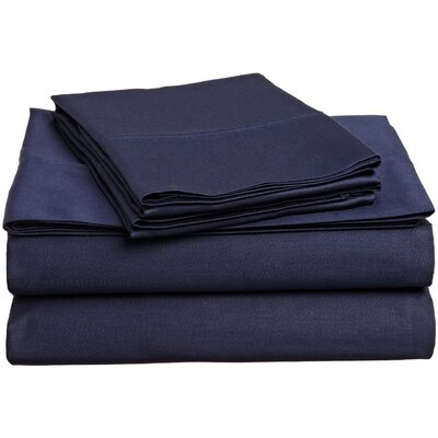 Larksville 400 Thread Count 100% Premium Cotton Sheet Set Size: Split King, Color: Navy Blue