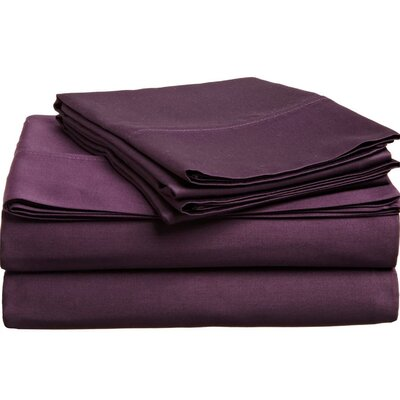 Cullen 400 Thread Count 100% Premium Cotton Sheet Set Size: Split King, Color: Plum