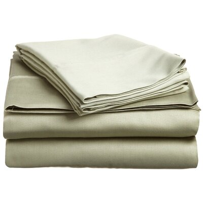 Larksville 400 Thread Count 100% Premium Cotton Sheet Set Size: Split King, Color: Sage