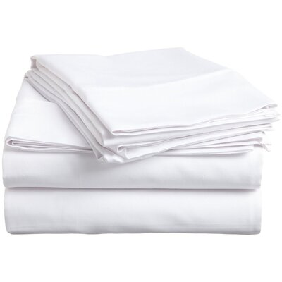Larksville 400 Thread Count 100% Premium Cotton Sheet Set Size: Split King, Color: White