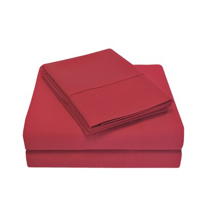 Cullen 800 Thread Count Cotton 6 Piece Sheet Set Size: Full/Double, Color: Burgundy