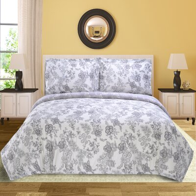 Blossom 3 Piece Reversible Duvet Cover Set Size: Full/Queen