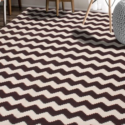 Carlos Chevron 100% Cotton Hand-Woven Chocolate Area Rug Rug Size: 5 x 8