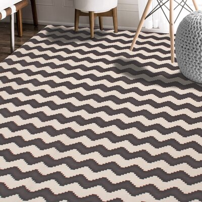 Carlos Chevron 100% Cotton Hand-Woven Gray Area Rug Rug Size: 5 x 8