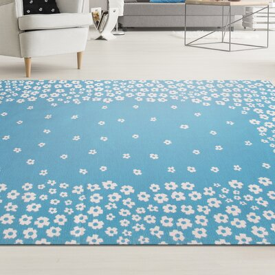 Carlos Wild Flower 100% Cotton Hand-Woven Blue Area Rug Rug Size: 5 x 8