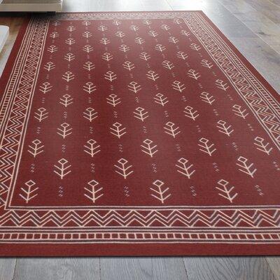 Mullins Royal Club 100% Cotton Hand-Woven Burgundy Area Rug Rug Size: 5 x 8