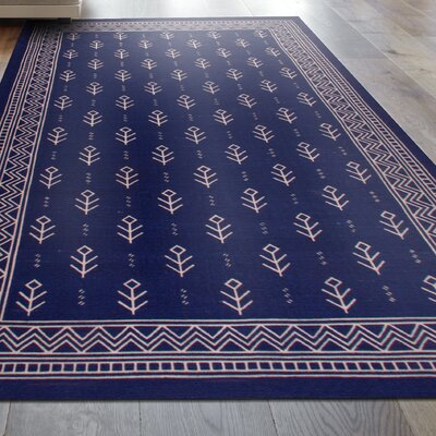 Mullins Royal Club 100% Cotton Hand-Woven Blue Area Rug Rug Size: 5 x 8