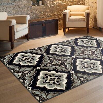 Katlin Black/Bluish-gray Area Rug Rug Size: 4 x 6