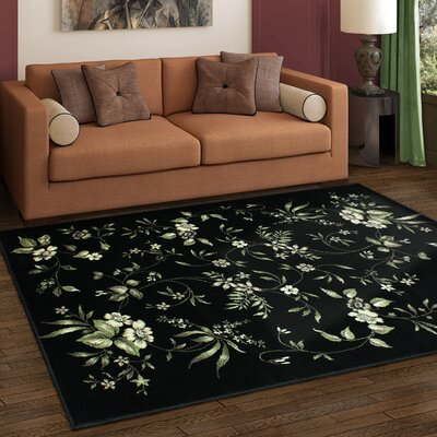 Anson Bloom Black Area Rug Rug Size: Rectangle 4 x 6