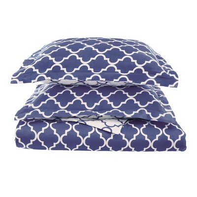 Lola Reversible Duvet Cover Set Size: Full/Queen, Color: Navy Blue