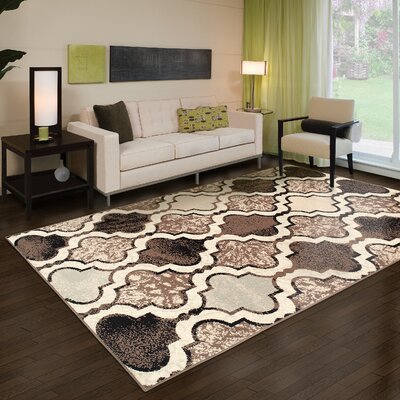 Calvin Trellis Beige/Brown Area Rug Rug Size: Rectangle 2 x 3