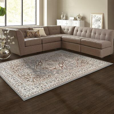 Vassar Gray/Brown Area Rug Rug Size: 4 x 6