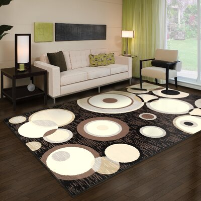 Bryleigh Black/Brown Area Rug Rug Size: Rectangle 2' x 3'