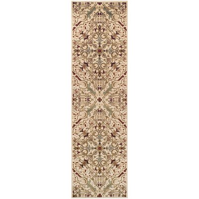 Mullins Cream/Red Area Rug Rug Size: 27 x 8