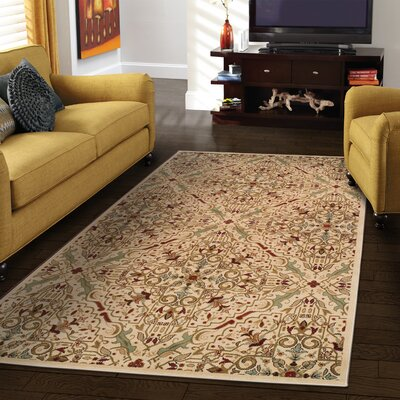 Bayliff Cream/Red Area Rug Rug Size: Rectangle 8 x 10