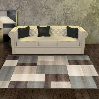 Svetlana Light Blue/Brown Area Rug Rug Size: Rectangle 5 x 8