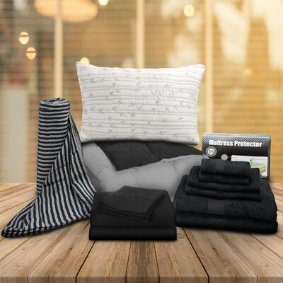 Patric 13 Piece Reversible Comforter Set Color: Black