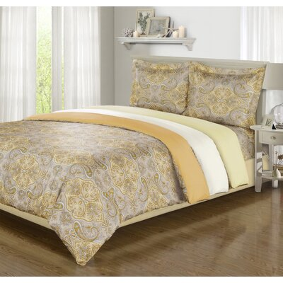 Impressions Reversible Duvet Cover Set Color: Gold, Size: Full/Queen