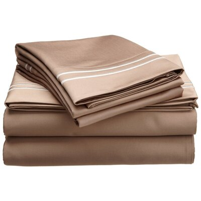 1600 Thread Count Cotton Sheet Set Color: Taupe/Ivory, Size: Full