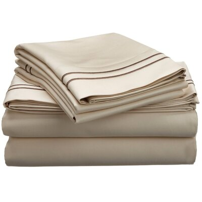1600 Thread Count Cotton Sheet Set Color: Ivory/Taupe, Size: Queen