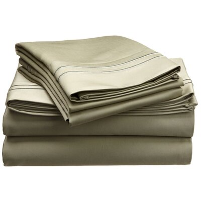 1600 Thread Count Cotton Sheet Set Color: Sage, Size: California King