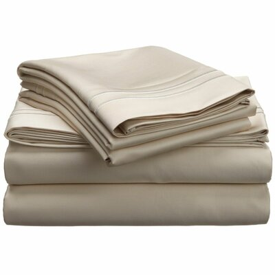 1600 Thread Count Cotton Sheet Set Color: Ivory, Size: Full