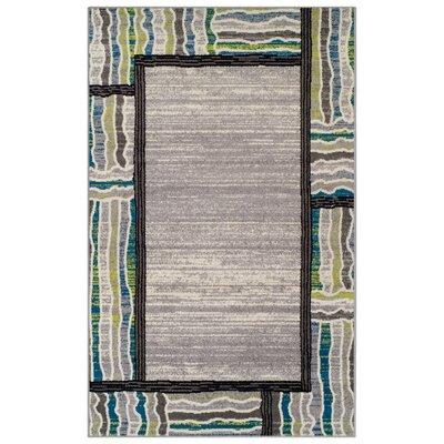 Verville Gem Border Gray Area Rug Rug Size: 5' x 8'