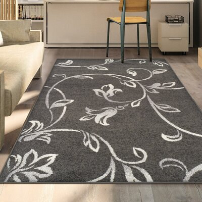 Breese Vine Black Area Rug Rug Size: 5' x 8'