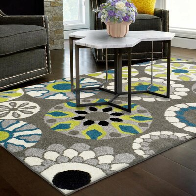 Darchelle Medallion Gray Area Rug Rug Size: Rectangle 4 x 6