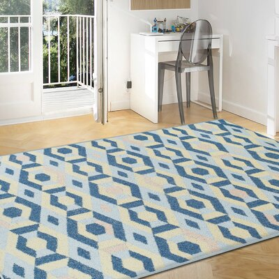Ira Polygon Blue Area Rug Rug Size: 5 x 8