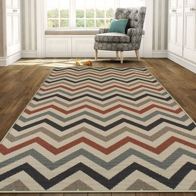 Wampler Chevron Indoor/Outdoor Beige Area Rug Rug Size: 5 X 8