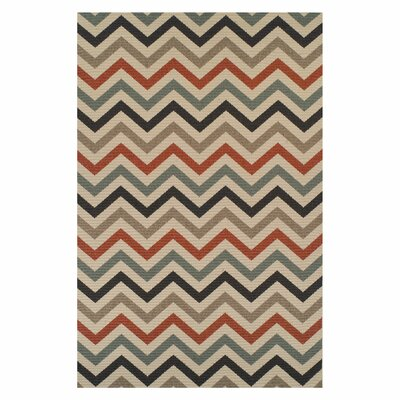 Wampler Chevron Indoor/Outdoor Beige Area Rug Rug Size: Rectangle 5 X 8