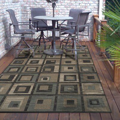 Dory Indoor/Outdoor Green/Brown Area Rug Rug Size: 5 X 8