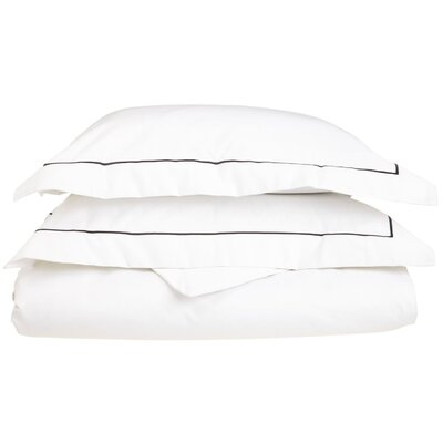 100% Cotton 3 Piece Duvet Cover Set Size: King / California King, Color: White-White