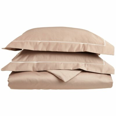 100% Cotton 3 Piece Duvet Cover Set Color: Taupe-Ivory, Size: Full / Queen